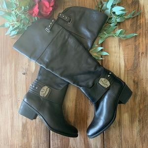 Vince Camuto Beatrix Black Leather Studded Boots